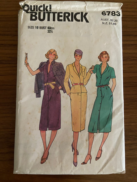 Butterick 6783 vintage 1980s jacket and dress pattern