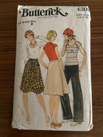Butterick 4309 vintage 1970s t-shirt skirt and pants pattern