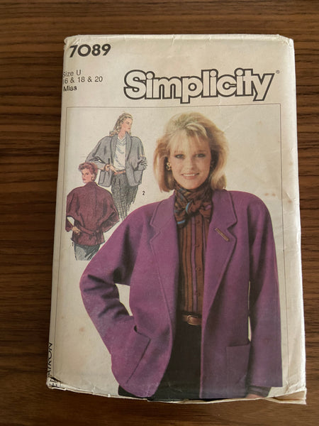 Simplicity 7089 vintage 1980s jacket sewing pattern