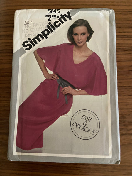 Simplicity 5145 vintage 1980s dress sewing pattern