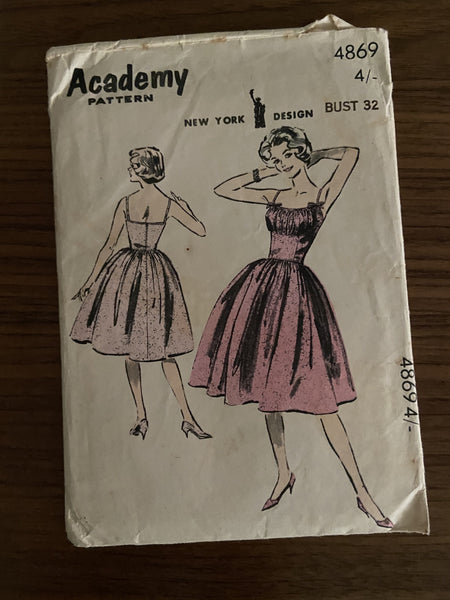 Academy 4869 vintage 1960s day or evening dress sewing pattern