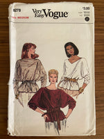 Vogue 8278 vintage Very Easy Vogue 1980s tops sewing pattern