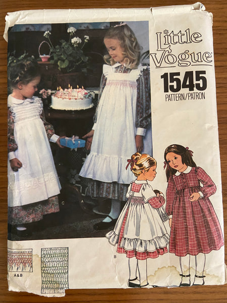 Vogue 1545 little vogue vintage 1970s child's dress, pinafores and transfer dress pattern