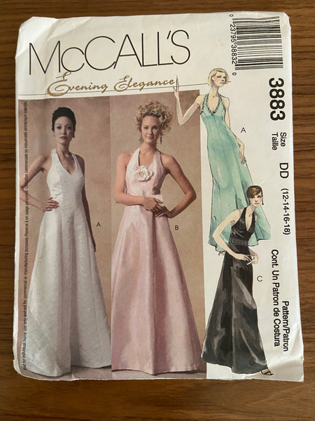 McCall's 3883 vintage 2002 evening elegance evening dress sewing pattern