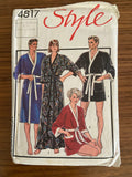 Style 4817 6968 vintage 1980s unisex robe sewing pattern