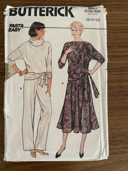 Butterick 6947 Vintage 1980s pants, skirt and top sewing pattern