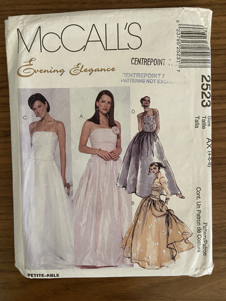 McCall's 2523 vintage 1990s evening elegance evening dress sewing pattern