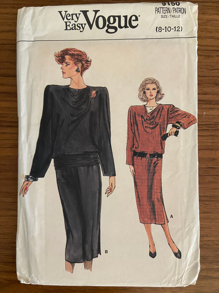 Vogue 9150 vintage Very Easy Vogue 1980s dress sewing pattern