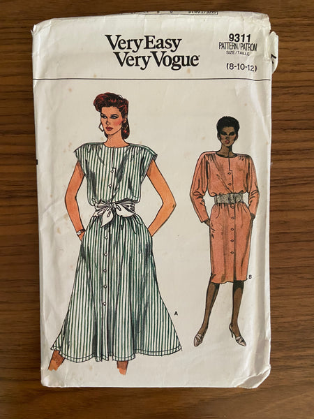 Vogue 9311 vintage 1980s dress sewing pattern