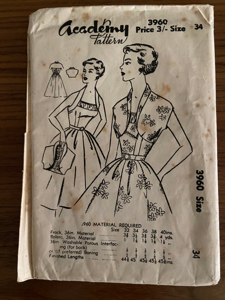 Academy 3960 vintage 1950s dress and bolero sewing pattern