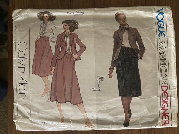 Vogue 1791 vintage late 1970s designer Calvin Klein jacket, skirt and blouse sewing pattern