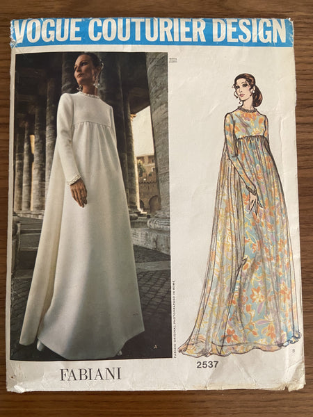 Vogue 2537 vintage 1970s designer Fabiani evening or wedding gown sewing pattern