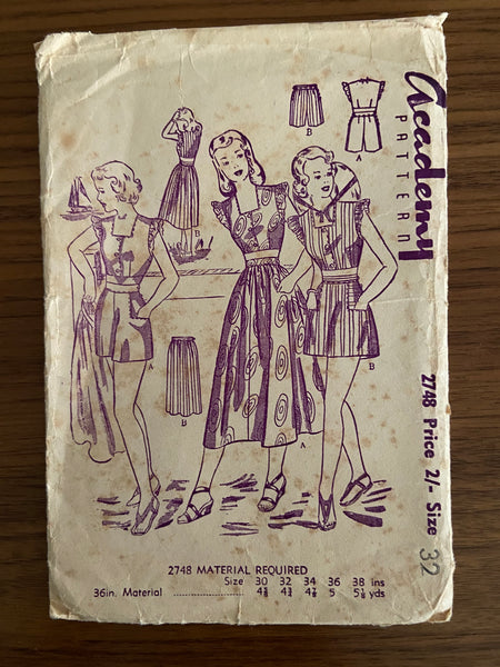 Academy 2748 vintage 1950s bodice skirt and shorts set sewing pattern
