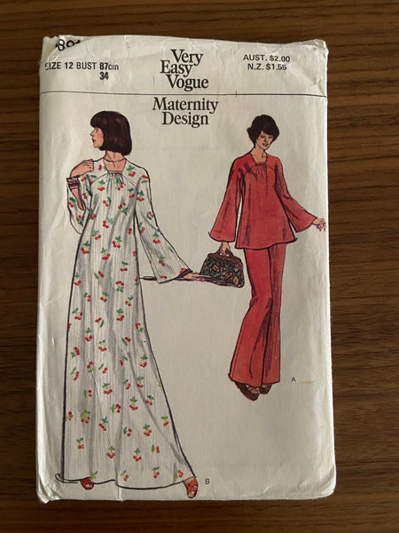 Vogue 8891 vintage 1970s maternity dress, tunic and pants pattern