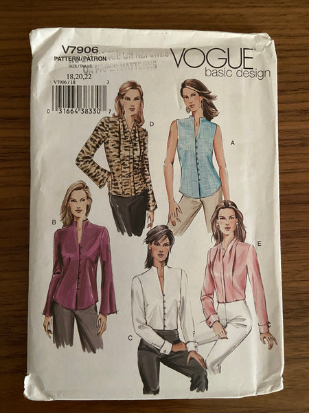 Vogue v7906 vogue basic design blouse pattern