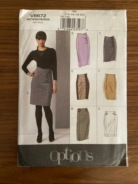 Vogue v8672 vogue options skirt pattern