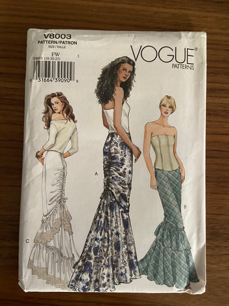 Vogue v8003 vogue ankle length skirt pattern