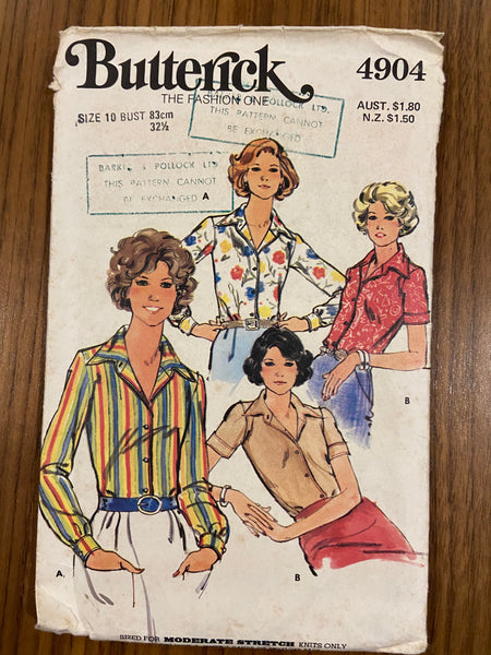 Butterick 4904 Vintage 1970s fitted shirt pattern