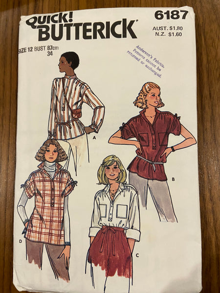 Butterick 6187 vintage 1980s top sewing pattern