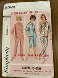 Simplicity 5532 vintage 1960s girls, teens and misses pajama pattern