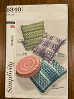Simplicity 5340 vintage 1960s smocked pillow cushion cover sewing pattern