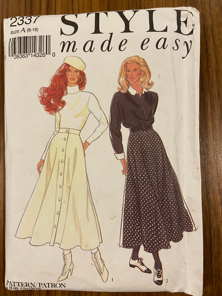 Style 2337 vintage 1980s circular skirt sewing pattern