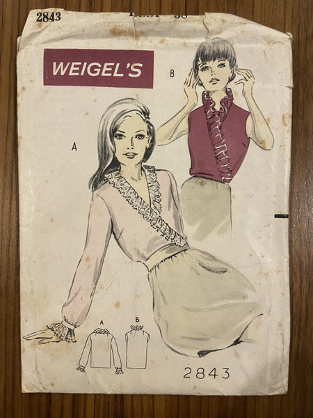Weigel's 2843 vintage 1960s frilled blouse sewing pattern