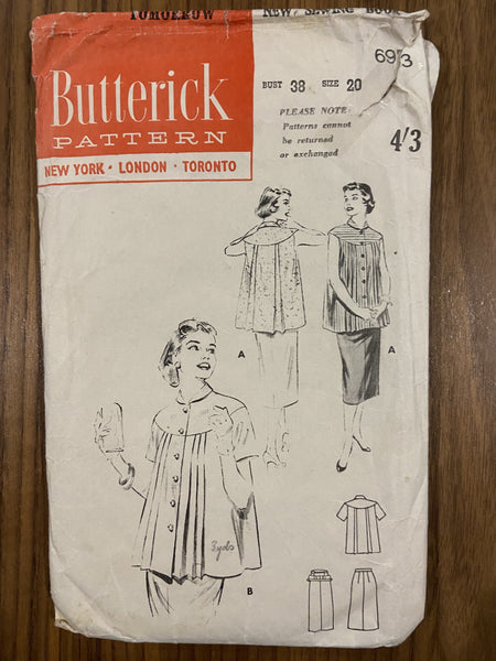 Butterick 6973 vintage 1950s maternity skirt and top sewing pattern