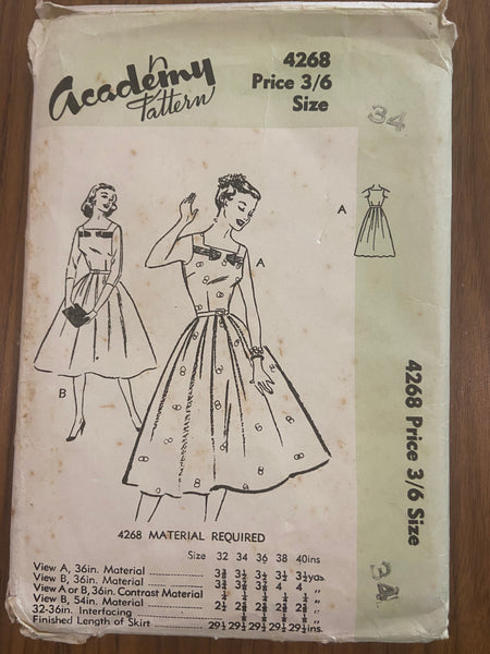 Academy 4268 vintage 1950s dress sewing pattern