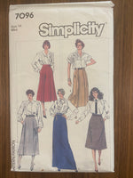 Simplicity 7096 vintage 1980s skirt sewing pattern