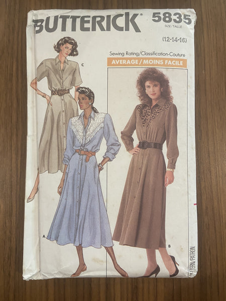 Butterick 5835 vintage 1980s shirt dress sewing pattern