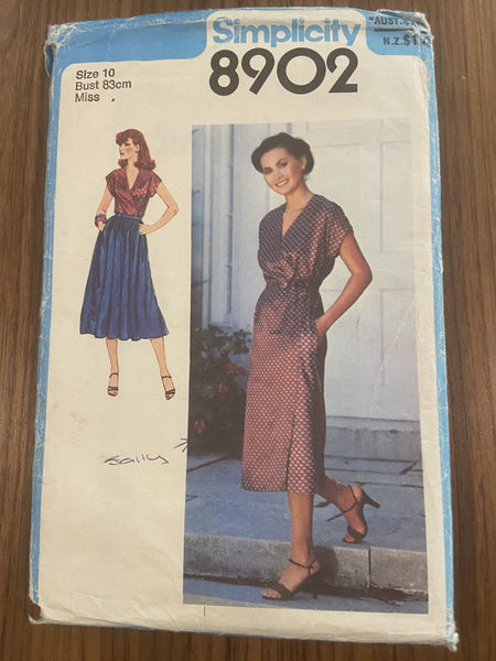 Simplicity 8902 vintage 1979 wrap dress, top and skirt pattern