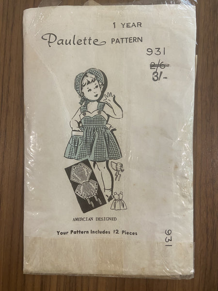 Paulette vintage circa 1950s toddler's romper, dress and bonnet sewing pattern