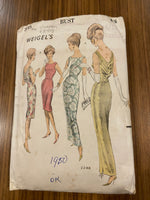 Weigel's 2248 vintage 1960s draped neckline dress in two lengths sewing pattern