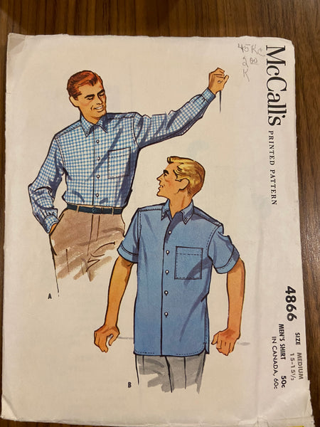 McCall's 4866 vintage 1950s men's shirt pattern