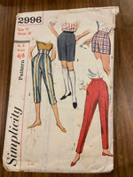 Simplicity 2996 vintage 1950s pants sewing pattern