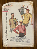 Simplicity 4452 vintage 1960s men's shirt pattern - wounded