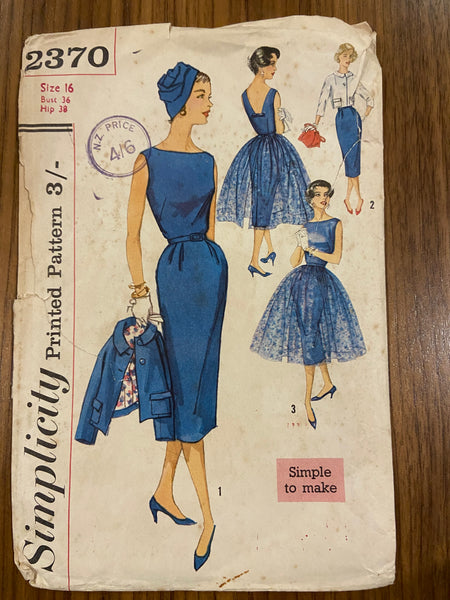 Simplicity 2370 vintage 1950s dress, overskirt and jacket set sewing pattern