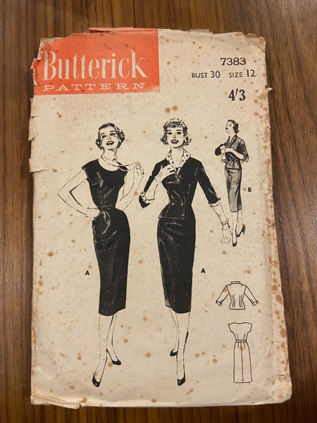 Butterick 7383 vintage 1950s dress and jacket sewing pattern