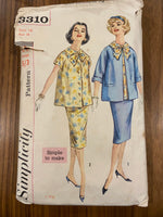 Simplicity 3310 vintage 1960s three piece maternity suit sewing pattern