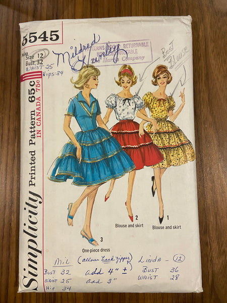 Simplicity 5545 vintage 1960s dress,  blouse and skirt sewing pattern