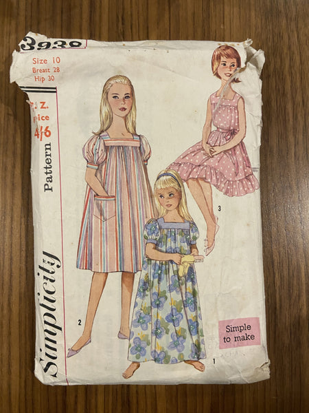 Simplicity 3938 1960s vintage girl's muumuu dress and nightgown sewing pattern