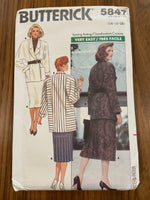 Butterick 5847 vintage 1980s skirt and jacket pattern