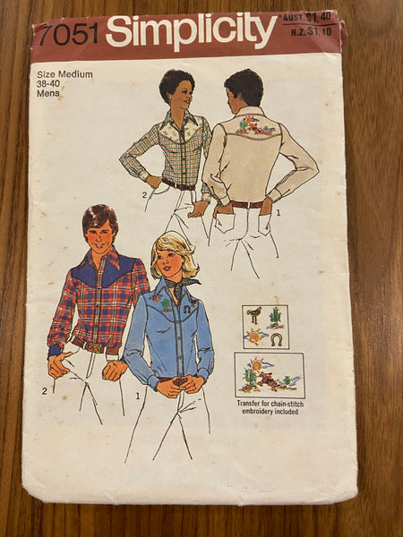 Simplicity 7051 vintage 1970s western shirt sewing pattern