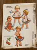 McCall's 1960s Helen Lee toddler's ruffled sunsuit and topper pattern also fits lifesize dolls