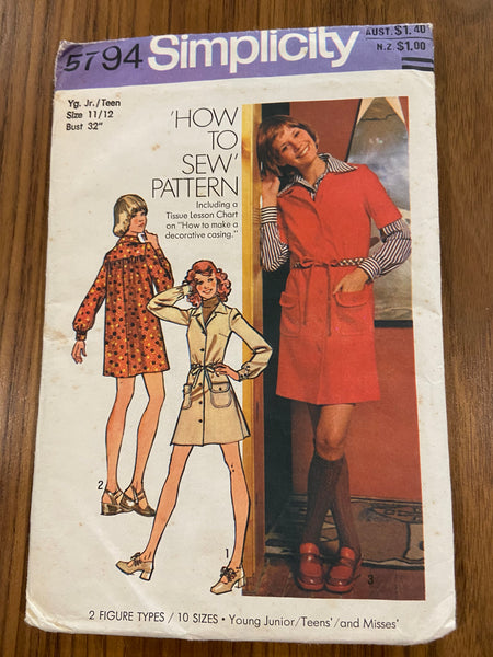 Simplicity 5794 vintage 1970s teen dress pattern