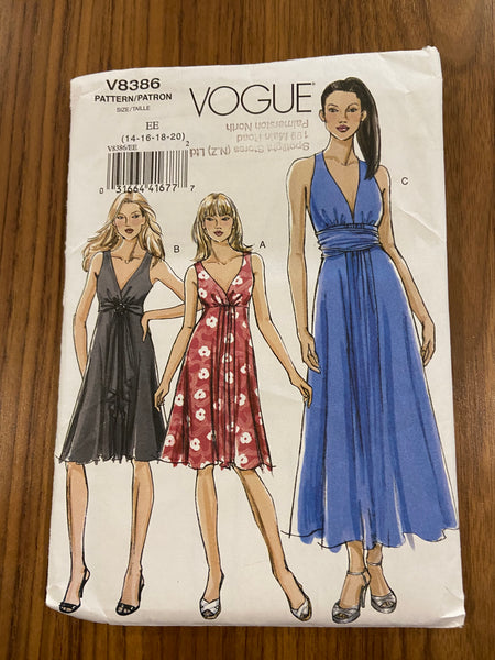 Vogue v8386 vintage 2007 dress sewing pattern