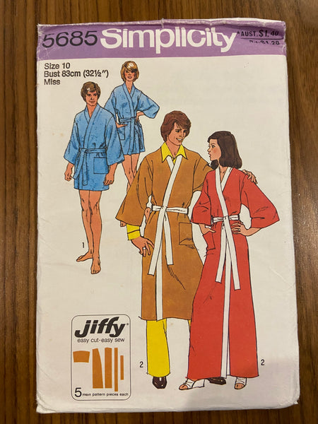 Simplicity 5685 vintage 1970s robe dressing gown sewing pattern
