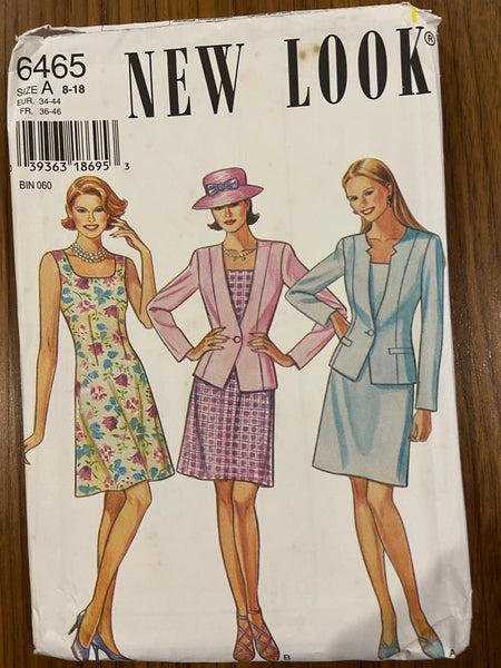 New Look 6465 vintage 1990s dress and jacket sewing pattern