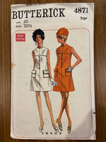 Butterick 4871 vintage 1960s dress sewing pattern